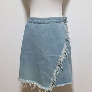 Frayed Edge Light Blue Wash Denim Wrap Skirt L